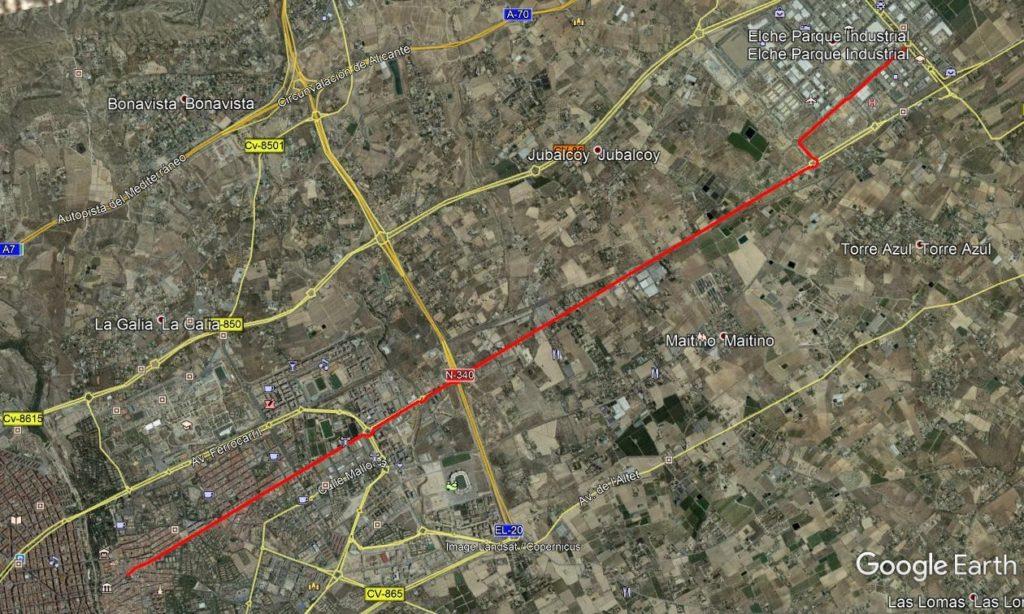 Ruta al parque empresarial por la N340